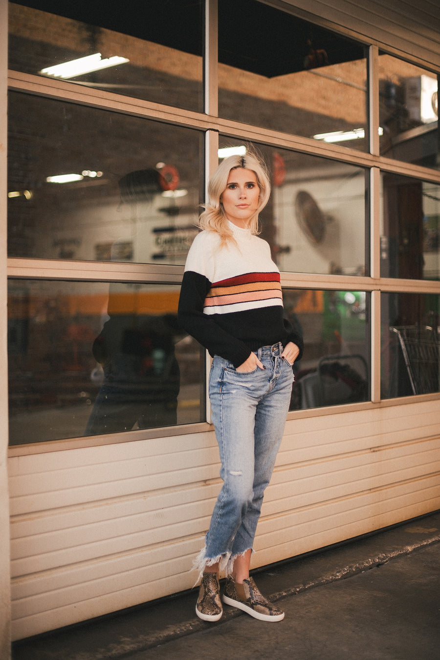 SALTWATER LUXE: PLACED STRIPE SWEATER