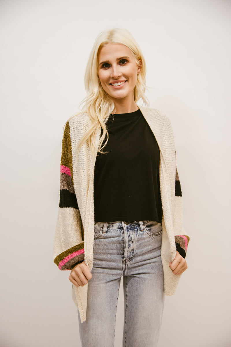 SALTWATER LUXE: JULIET CARDIGAN-FALL STRIPE
