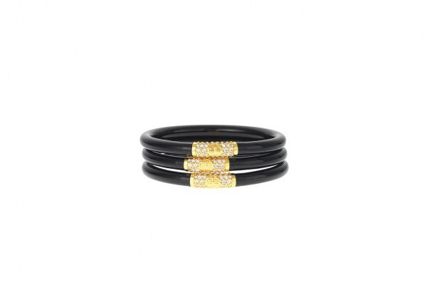 BUDHA GIRL: BLACK ALL WEATHER GOLD BEAD SET OF 3 BRACELETS