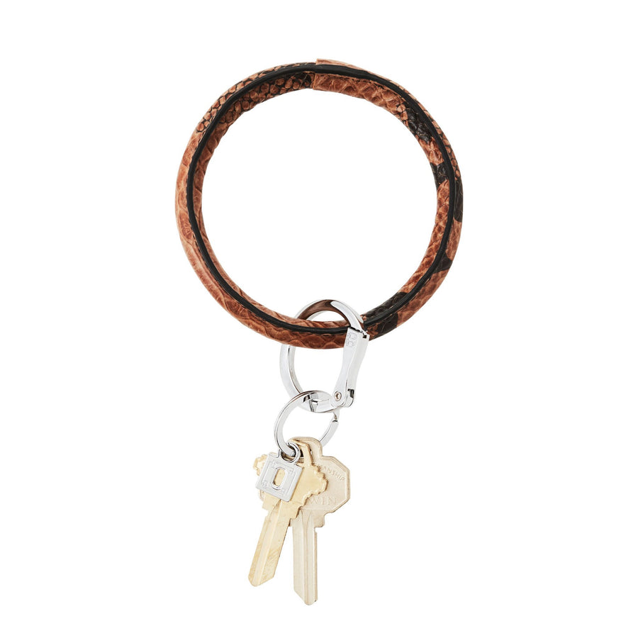 O VENTURE: TIGER EYE SNAKESKIN BIG O KEY RING