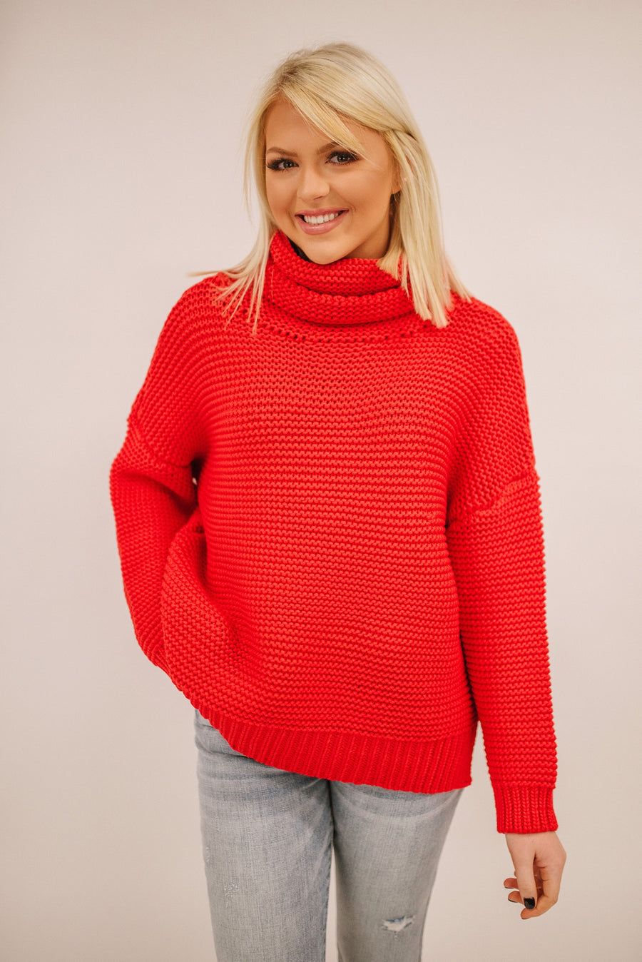 WITHOUT A DOUBT COWL NECK SWEATER