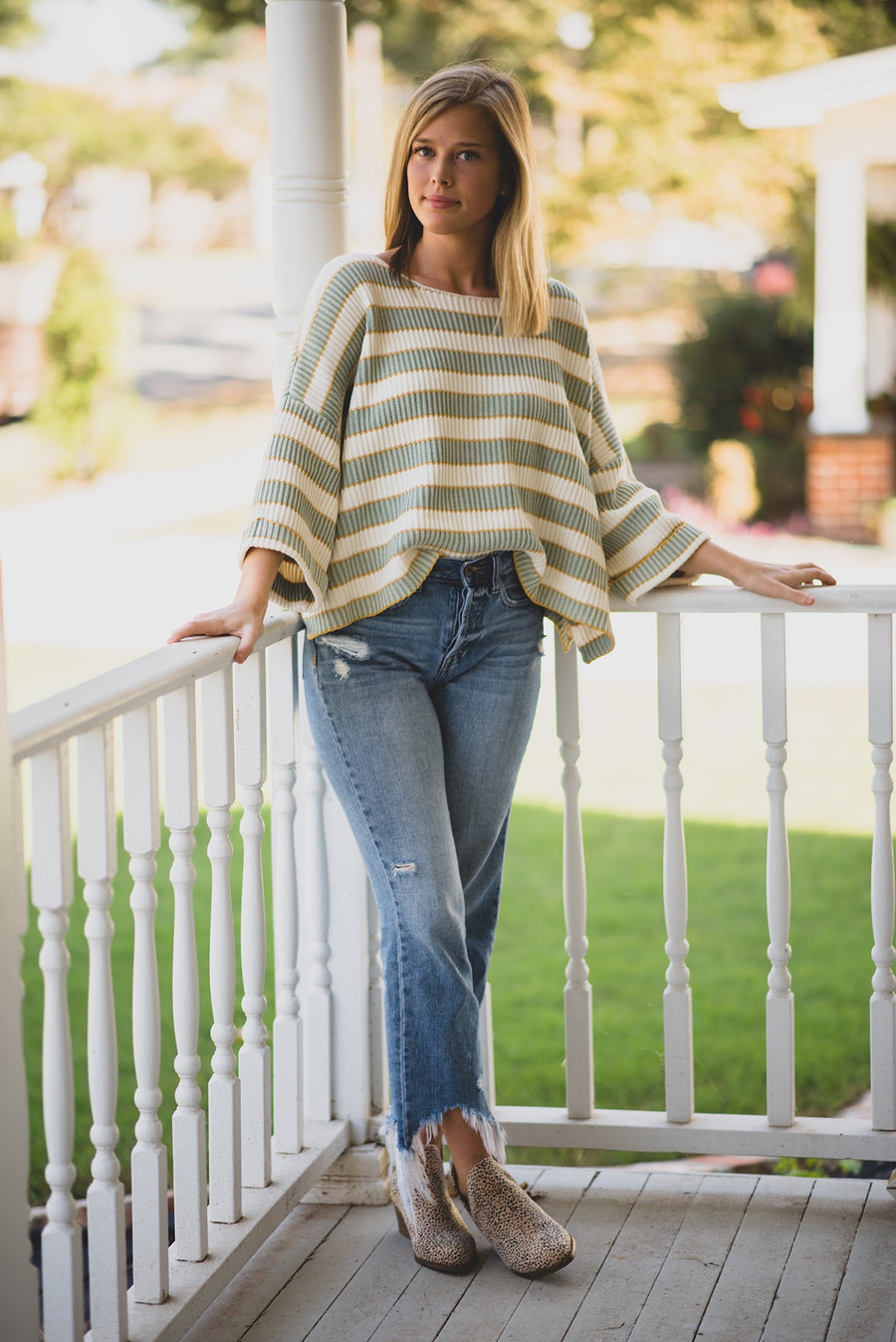 DREAM ALL DAY WIDE SLEEVE STRIPED SWEATER -SAGE