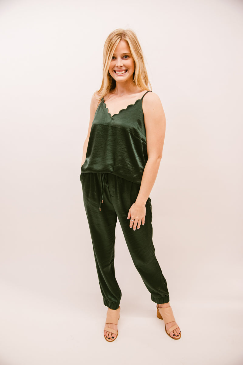 REMEMBER THE NIGHT SATIN JOGGERS-EMERALD
