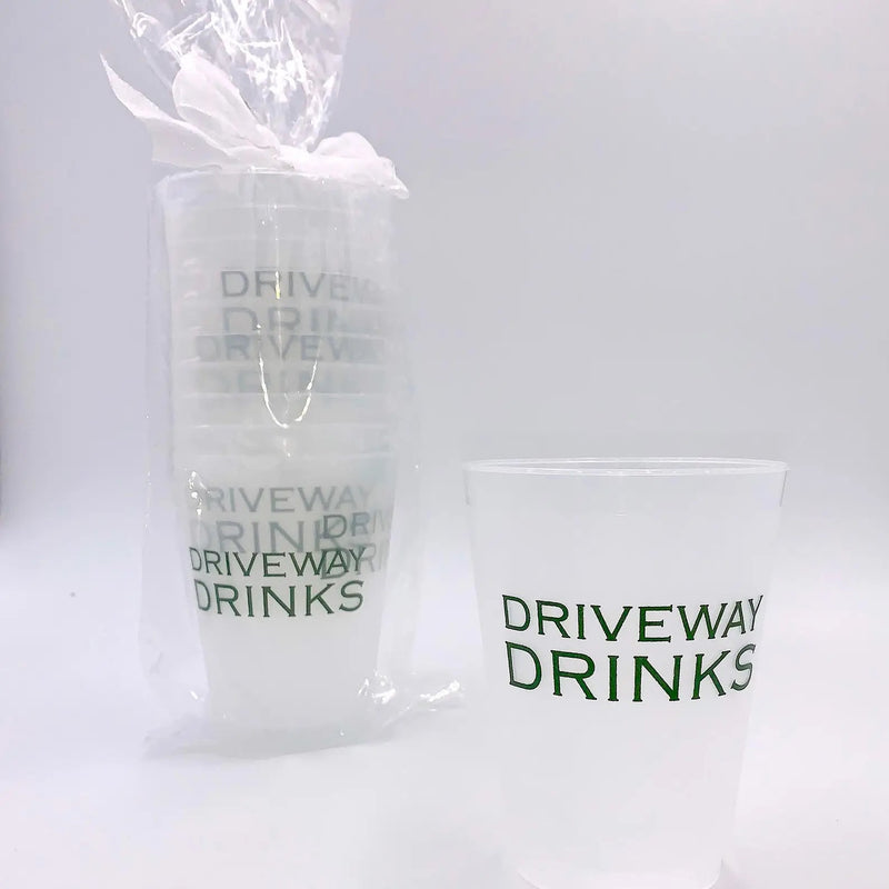 DRIVEWAY DRINKS REUSABLE CUPS-SET OF 10