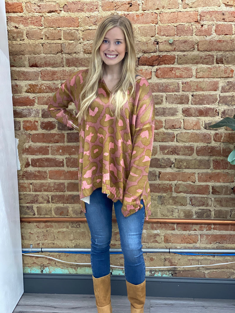 SHOW ME YOUR MUMU: HUG ME SWEATER-ROSY LEOPARD KNIT