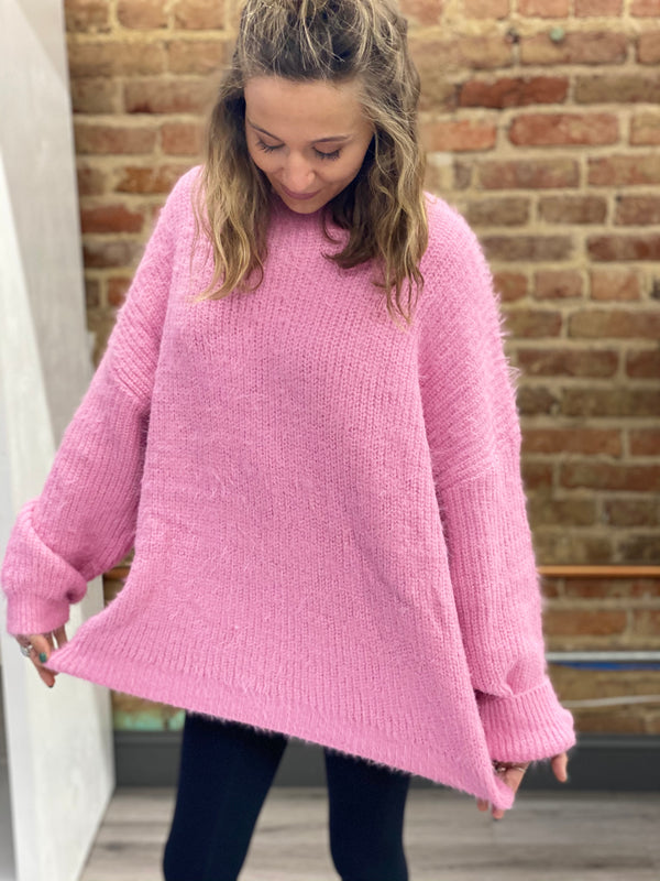 WARMING UP TO YOU SWEATER-BUBBLE GUM PINK