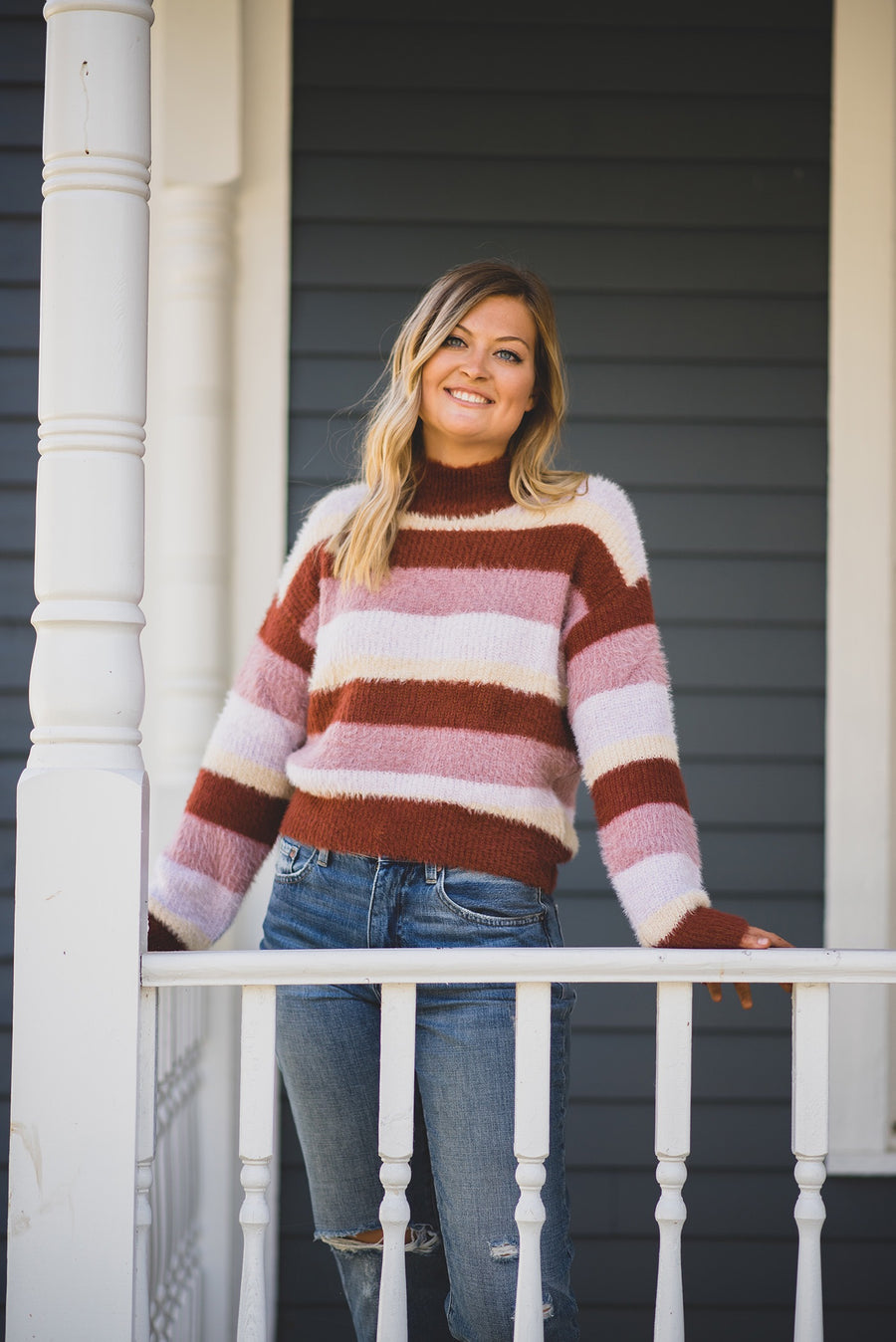CABIN COZY MOCK NECK STRIPE SWEATER