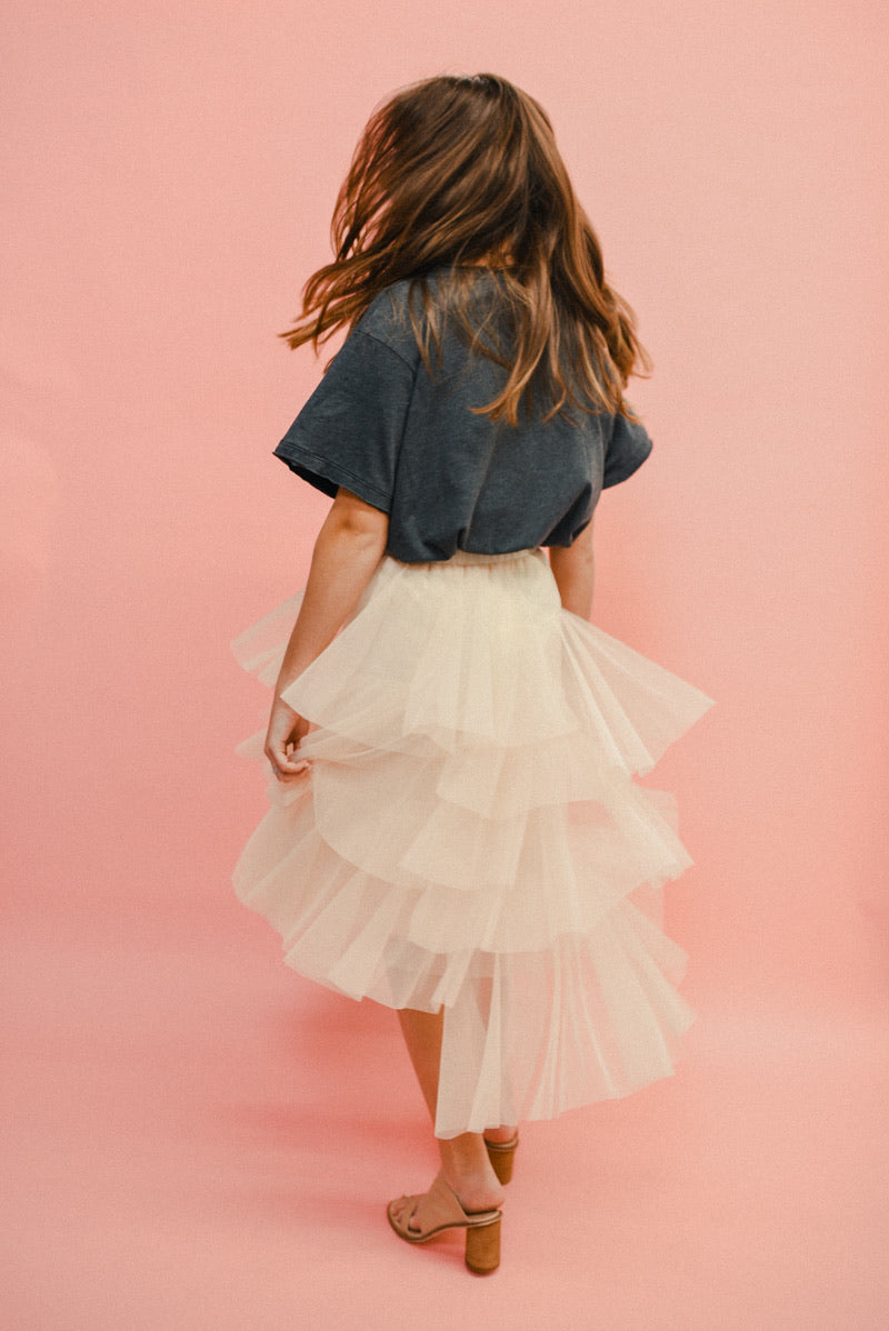 EDGY BUT DREAMY ASYMMETRICAL TIERED MIDI SKIRT