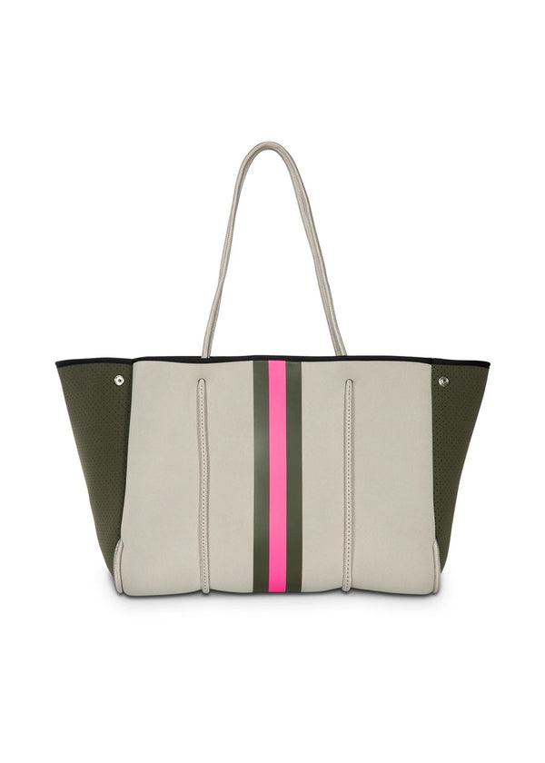HAUTE SHORE: GREYSON SWANK TOTE-ARMY/HOT PINK STRIPE