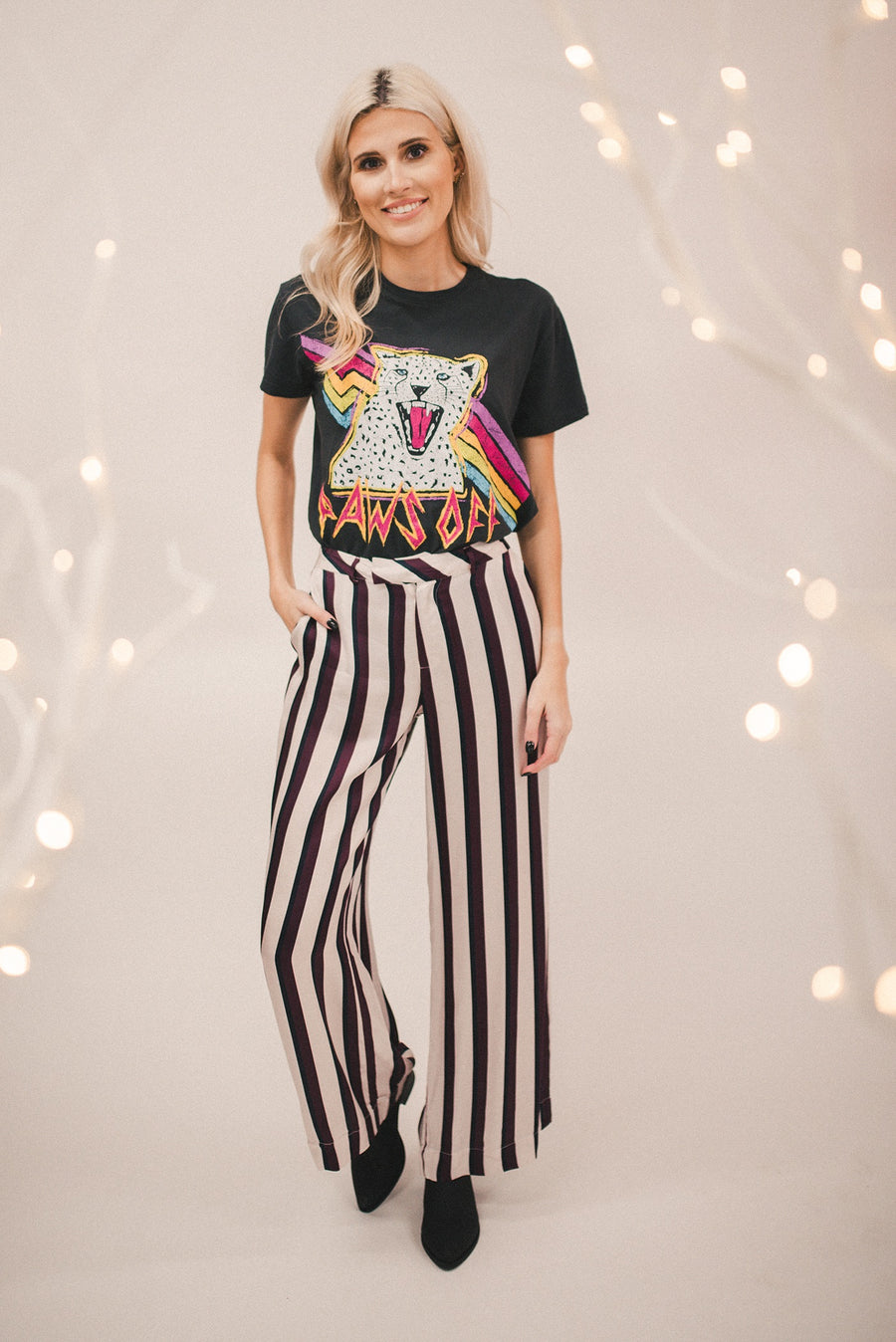 CHASER: SILKY BASICS STRIPE WIDE LEG TROUSER