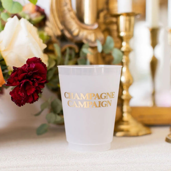 CHAMPAGNE CAMPAIGN REUSABLE CUPS-SET OF 10