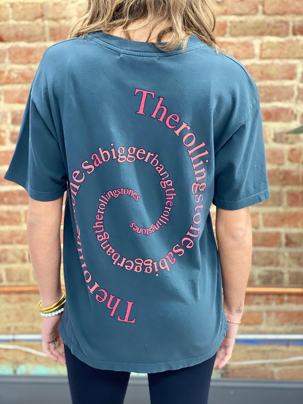 DAYDREAMER: ROLLING STONES SPIRAL TONGUE WEEKEND TEE-VINTAGE BLACK