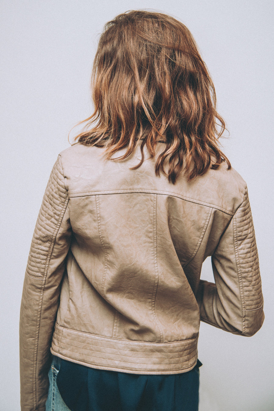 JACK BY BB DAKOTA: SEE YA LATER VEGAN LEATHER MOTO JACKET-HAZELNUT