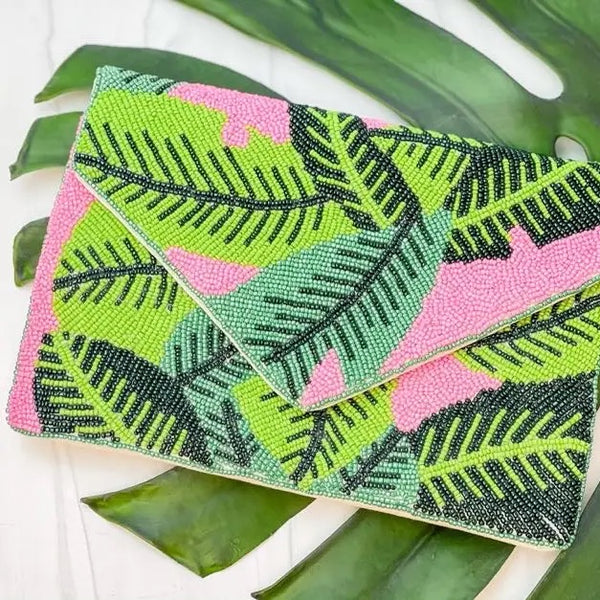 GREEN PALM LEAVES BEADED CLUTCH