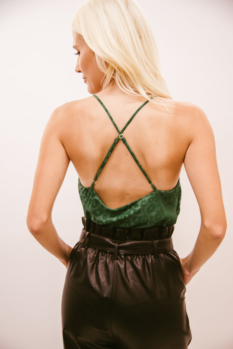 SHOW ME YOUR MUMU: DIANE BODYSUIT-GREEN SILKY CHEETAH