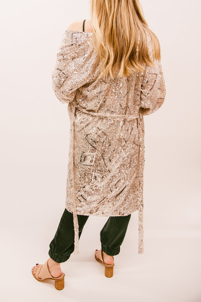 CHAMPAGNE POP SEQUIN DUSTER- SILVER