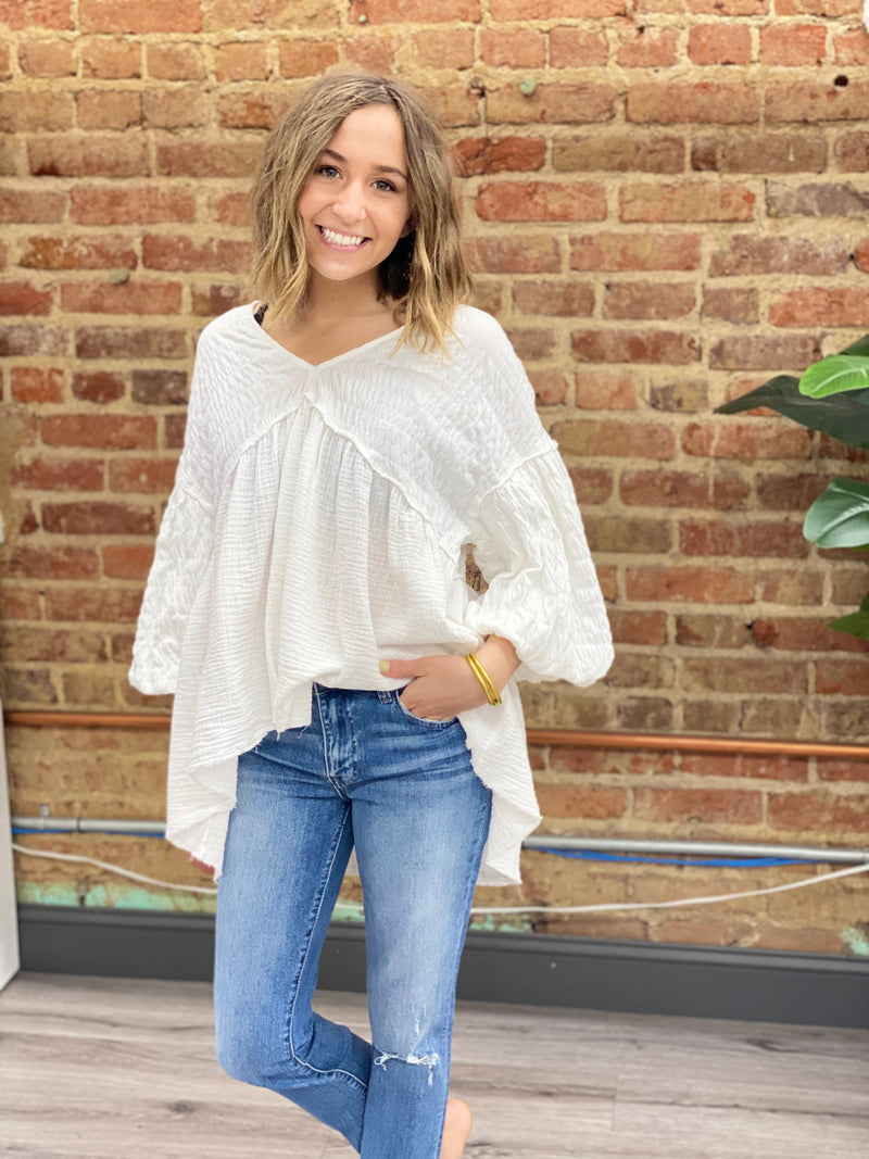 FREE PEOPLE: FLOWER POWER TOP-WHITE