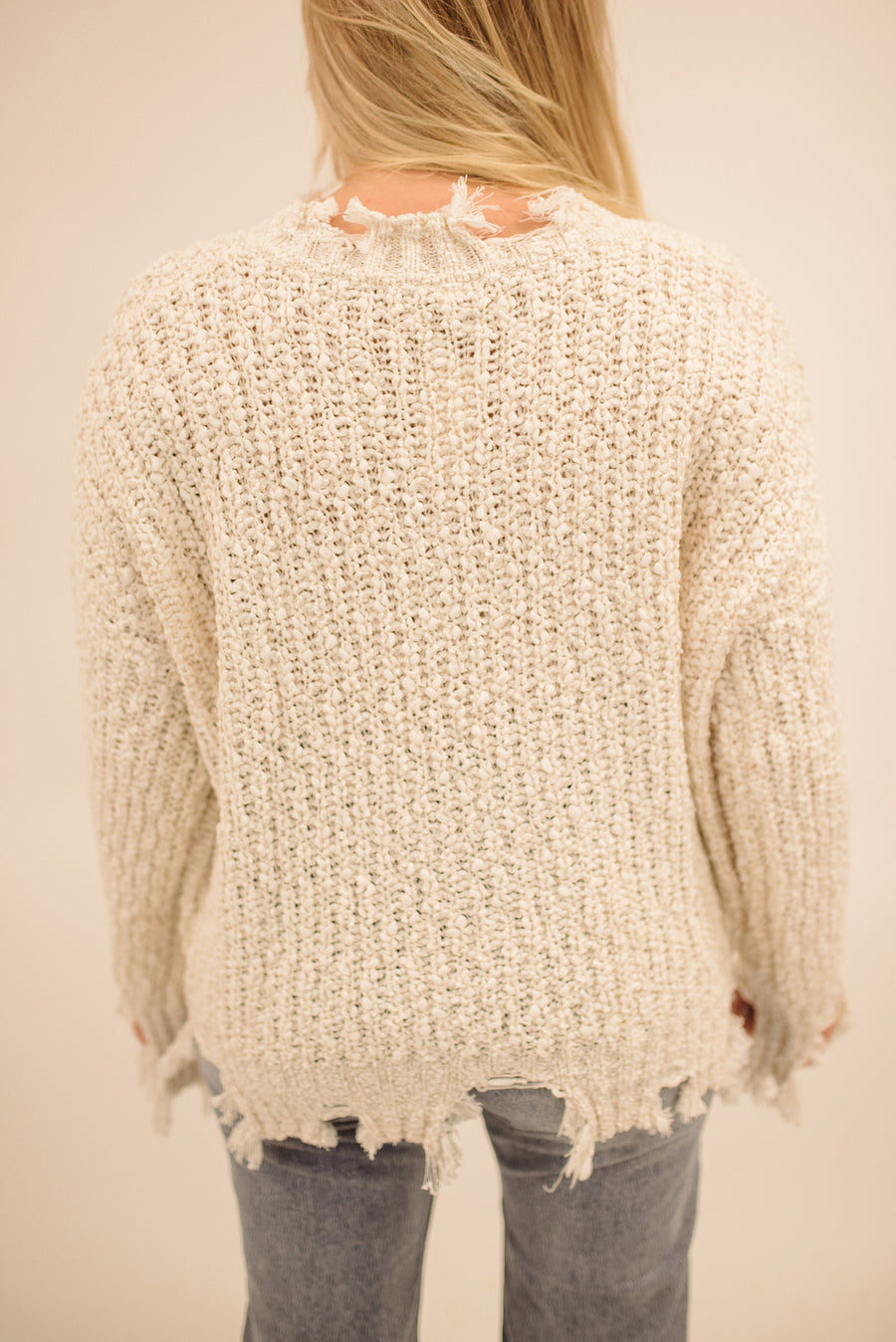 NO MESSING AROUND DISTRESSED SWEATER