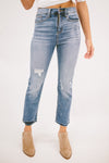 MAXWELL HIGH RISE CROP FLARE FRAYED HEM JEANS