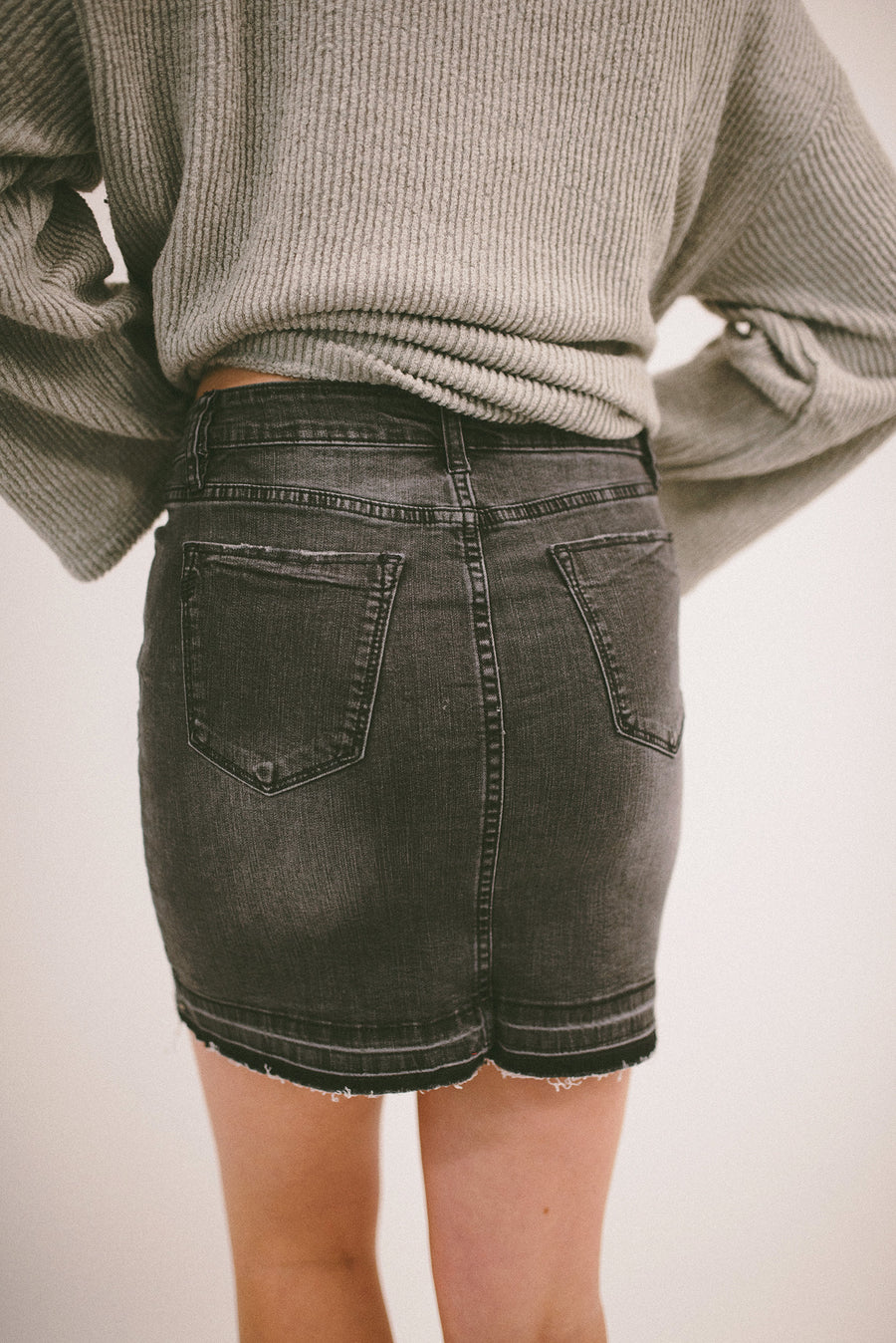 ALL THE RIGHT MOVES FRAYED HEM DENIM SKIRT