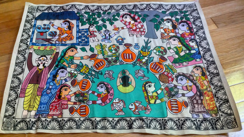 Large mithila festival painting on rice paper