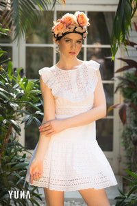 White Lace Cotton Ruffle Dress