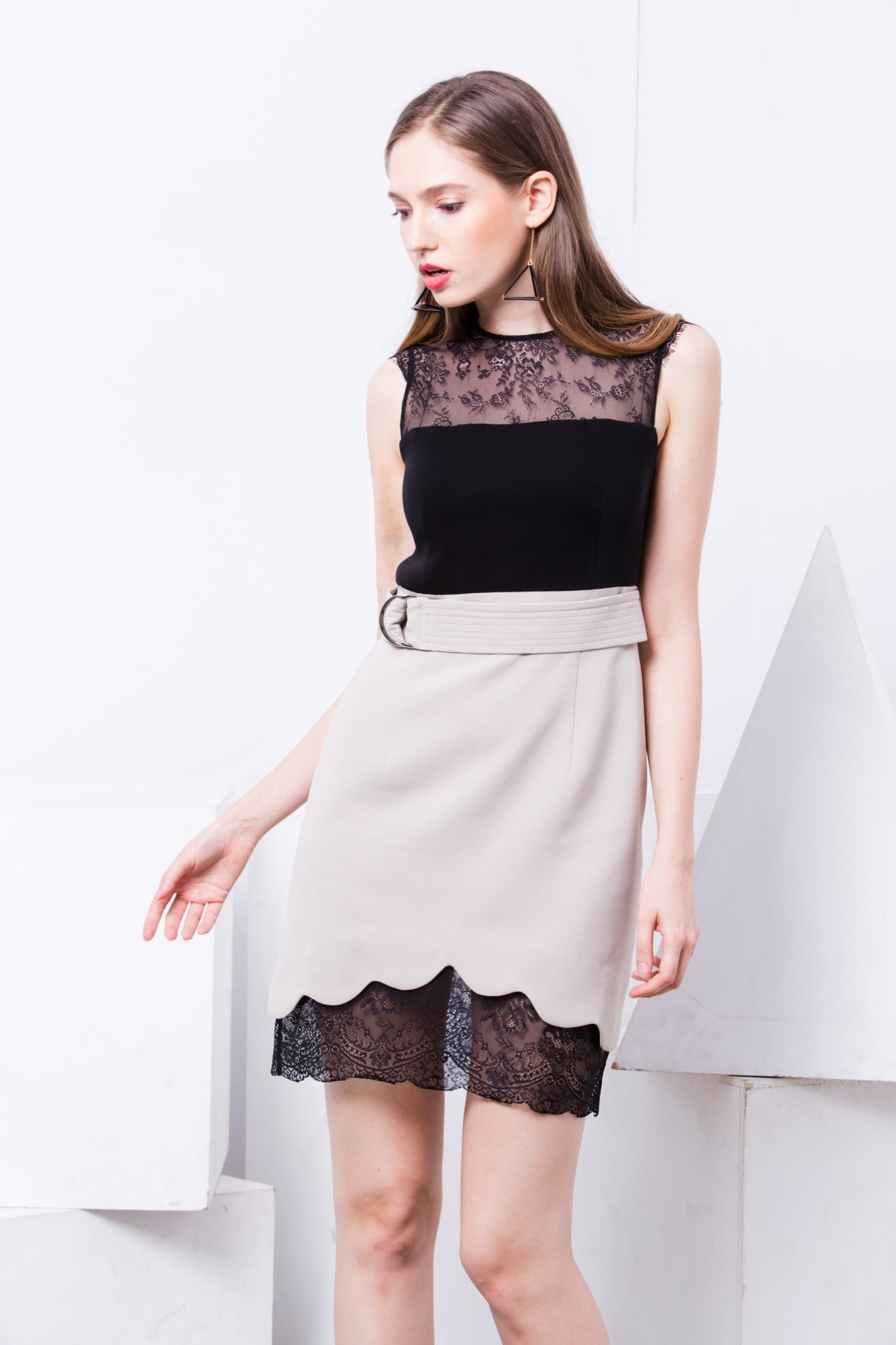 Maturity Two Tone Lace Dress