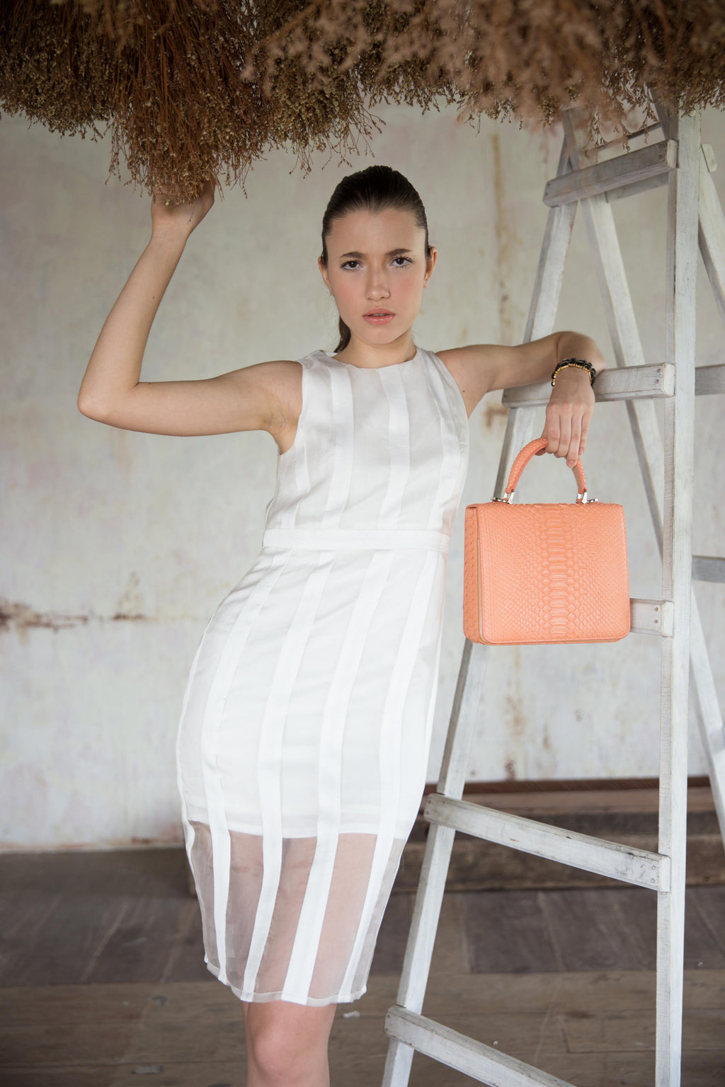White On White Stripe Dress