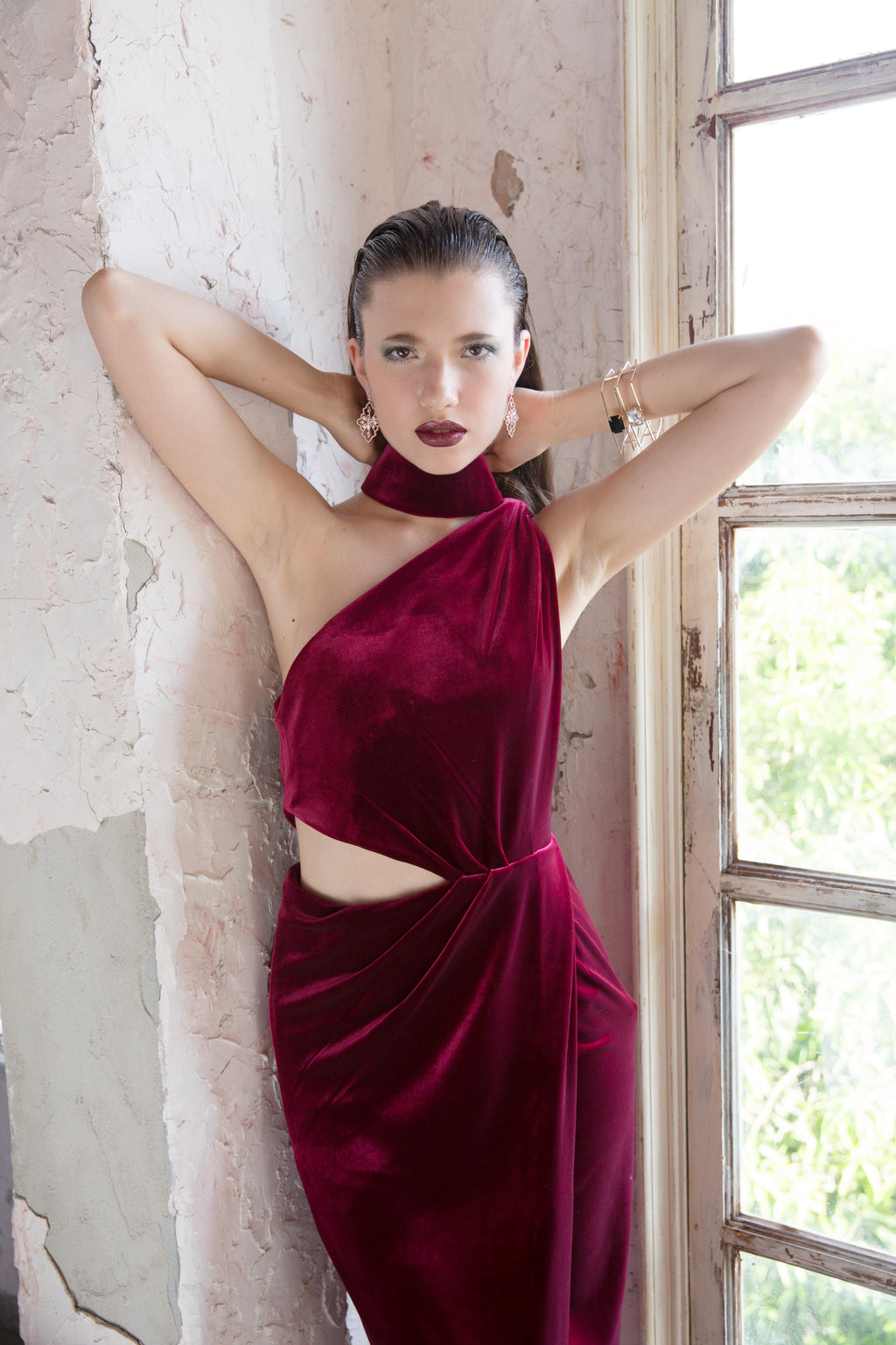 Chocker Velvet Gown