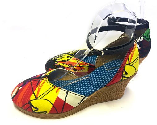 African Queen Low Wedges - Artist Canvas