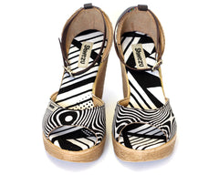 African Queen Wedges - Black & White