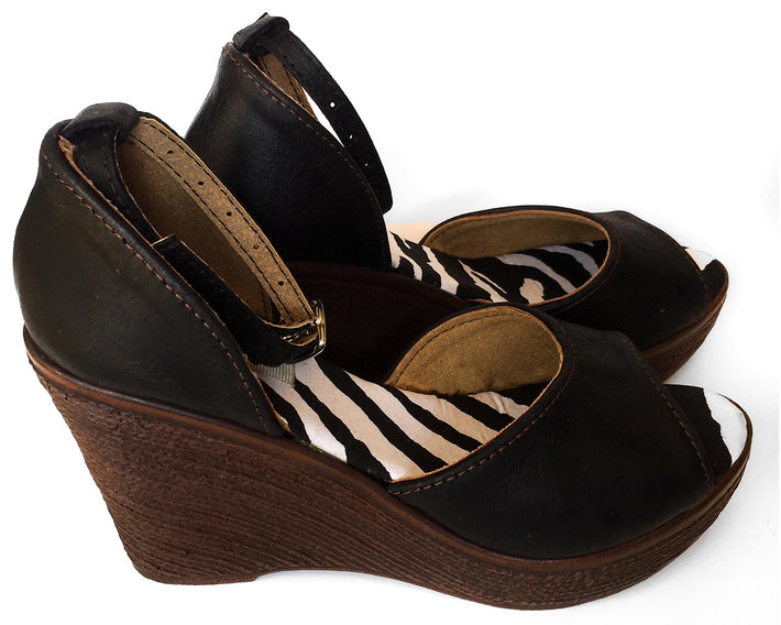 African Queen Wedges - Leather Black Zebra