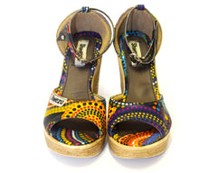 African Queen Wedges - Rainbow dots
