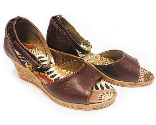 African Queen Wedge - Low Leather Brown