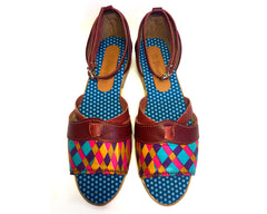 African Queen sandals - Burgandy Leather & Print