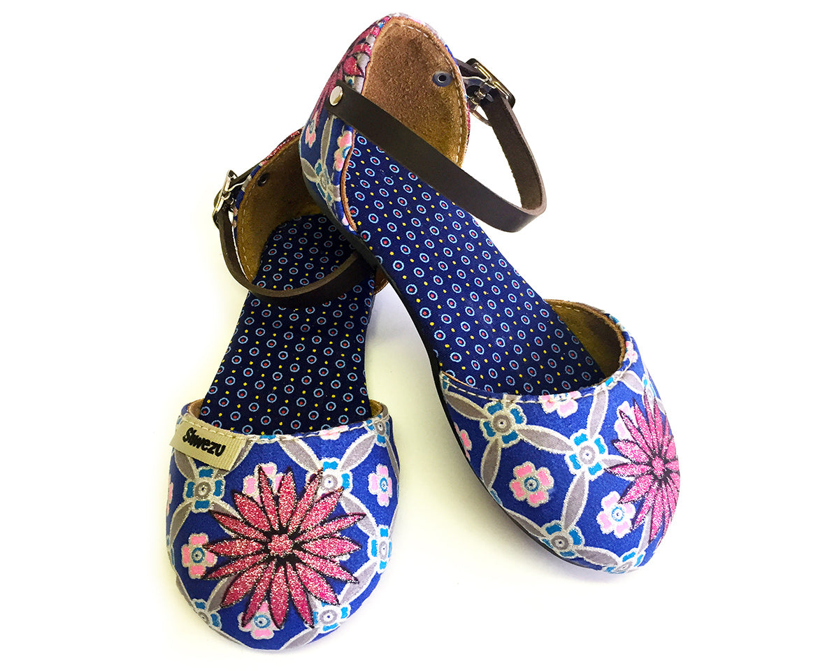 Baby Sandals Closed - Navy & Pink Daisy
