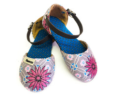 Baby Sandals Closed - Silver & Pink Daisy