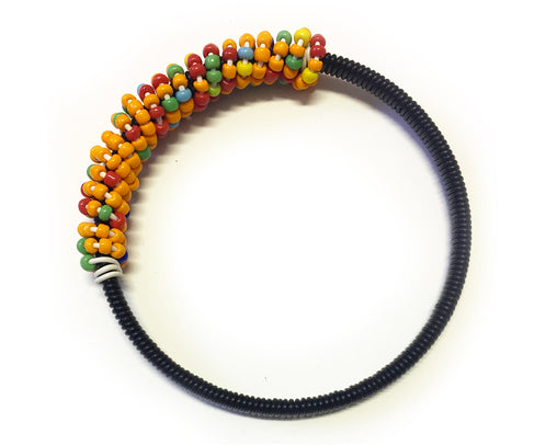 Beaded Bangle - Black & Orange