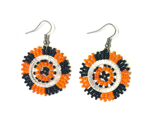 Beaded Earrings Small - Orange, Black & White