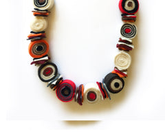 Felt Necklace - Red, Orange & Brown