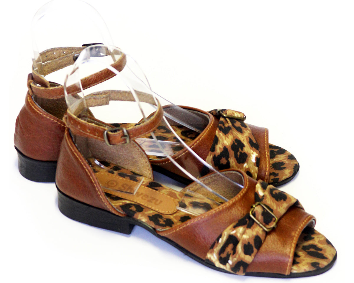 Flat Safari Leather Sandals - Leopard & Brown