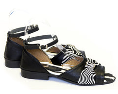 Flat Safari Leather Sandals - Zebra & Black