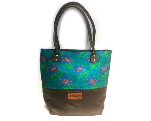 Leather & Shweshwe Handbag - Green & Brown