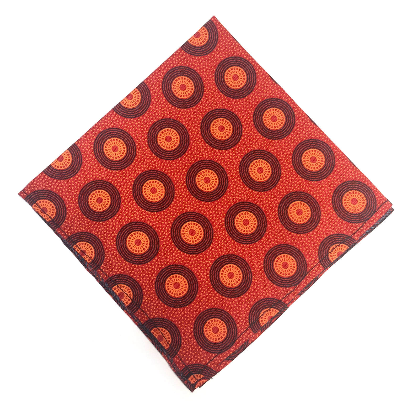 Shweshwe Pocket Square - Orange & Red