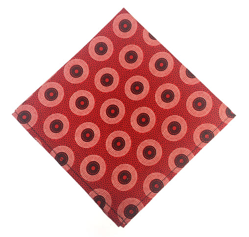 Shweshwe Pocket Square - Red & Black