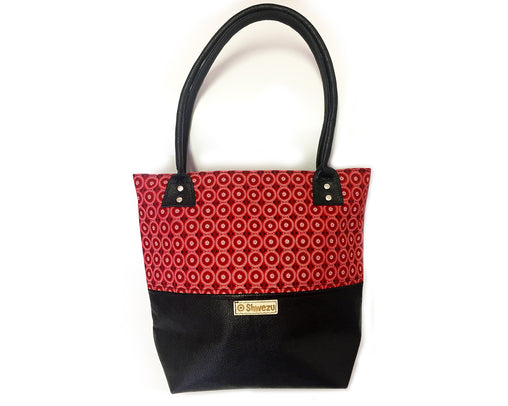 Leather & Shweshwe Handbag - Red & Black