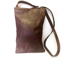 Leather & Shweshwe Handbag - Small - Orange & Brown