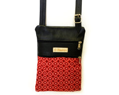 Leather & Shweshwe Handbag - Small - Red & Black