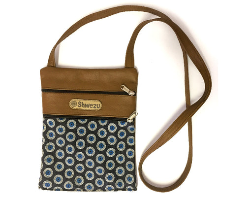Leather & Shweshwe Handbag - Small - Turquoise & Brown