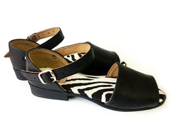 Flat Sandal Leather Peep - Black & Zebra
